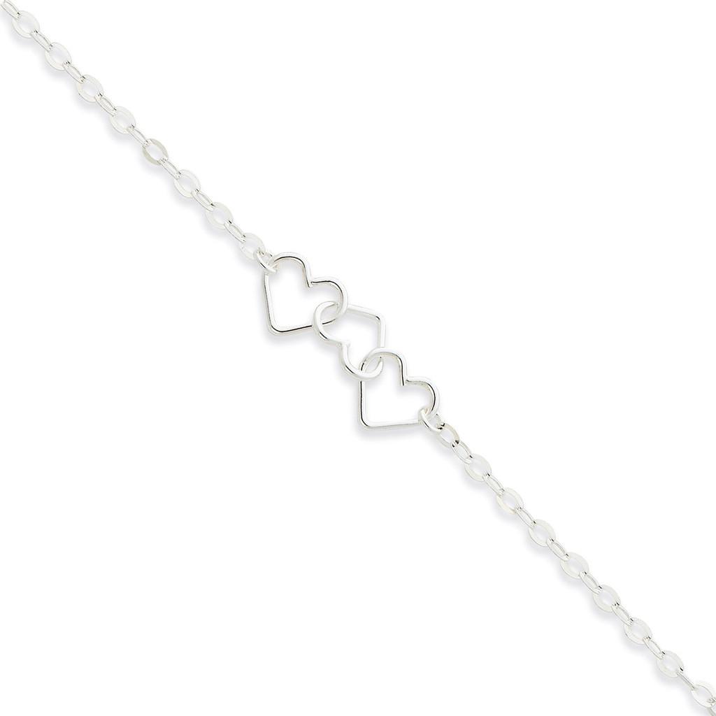 9 Inch Adjustable Solid Polished Fancy Heart Link Anklet Sterling Silver MPN: QG1255-9