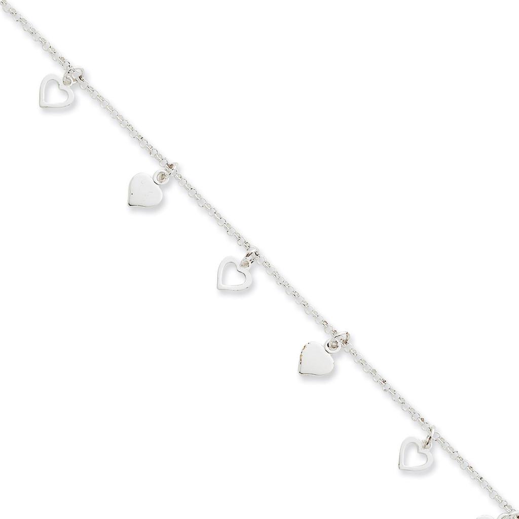 10 Inch Hearts Anklet Sterling Silver Polished MPN: QG2143-10