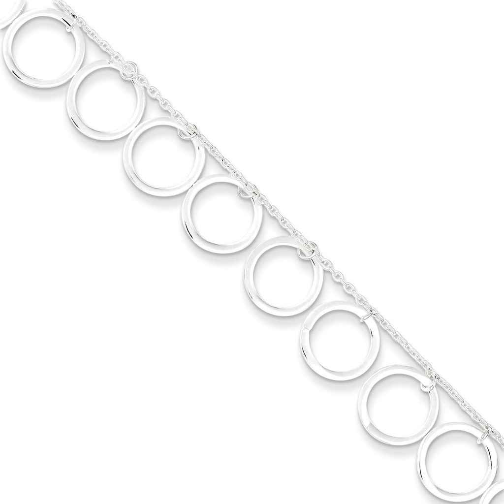 10 Inch Dangle Circles Anklet Sterling Silver MPN: QG2343-10