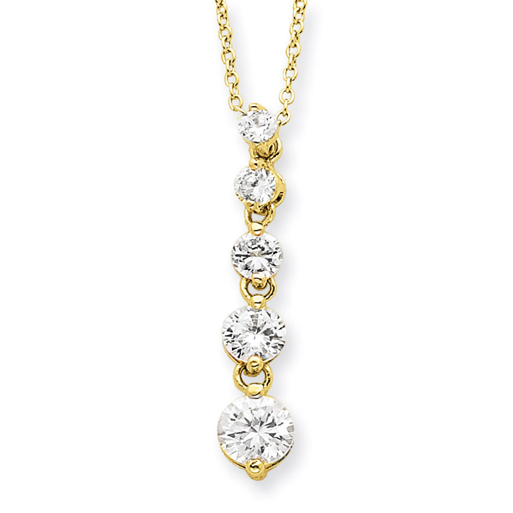 Vintage HandMade Necklace Drop Pendant Chain Gold Color Sterling Silver with Cubic zirconia inserts Silver Gift for Sister Wife