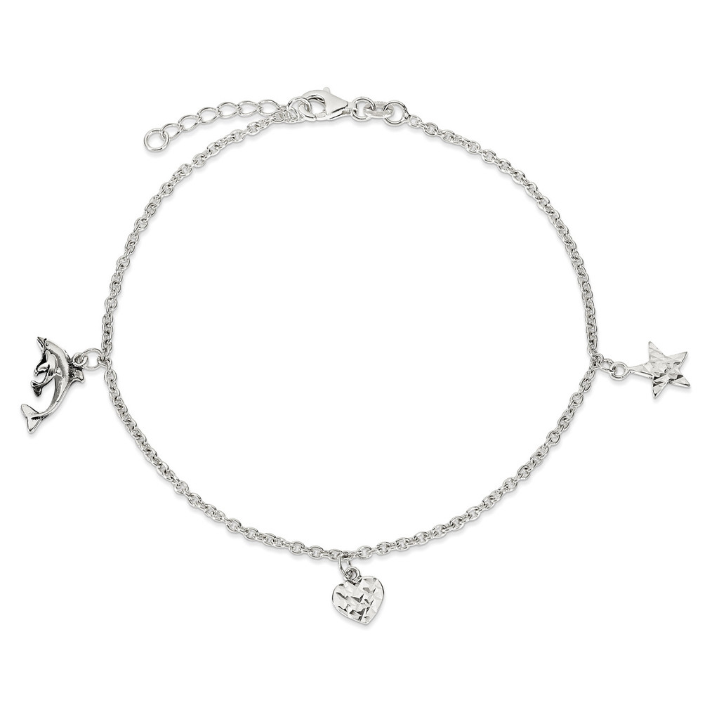 9 Inch Heart, Star & Dolphin Anklet Sterling Silver Polished MPN: QG2788-9