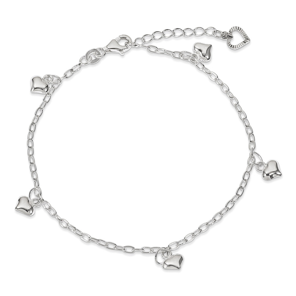 9 Inch Puffed Heart Anklet Sterling Silver Polished MPN: QG2791-9
