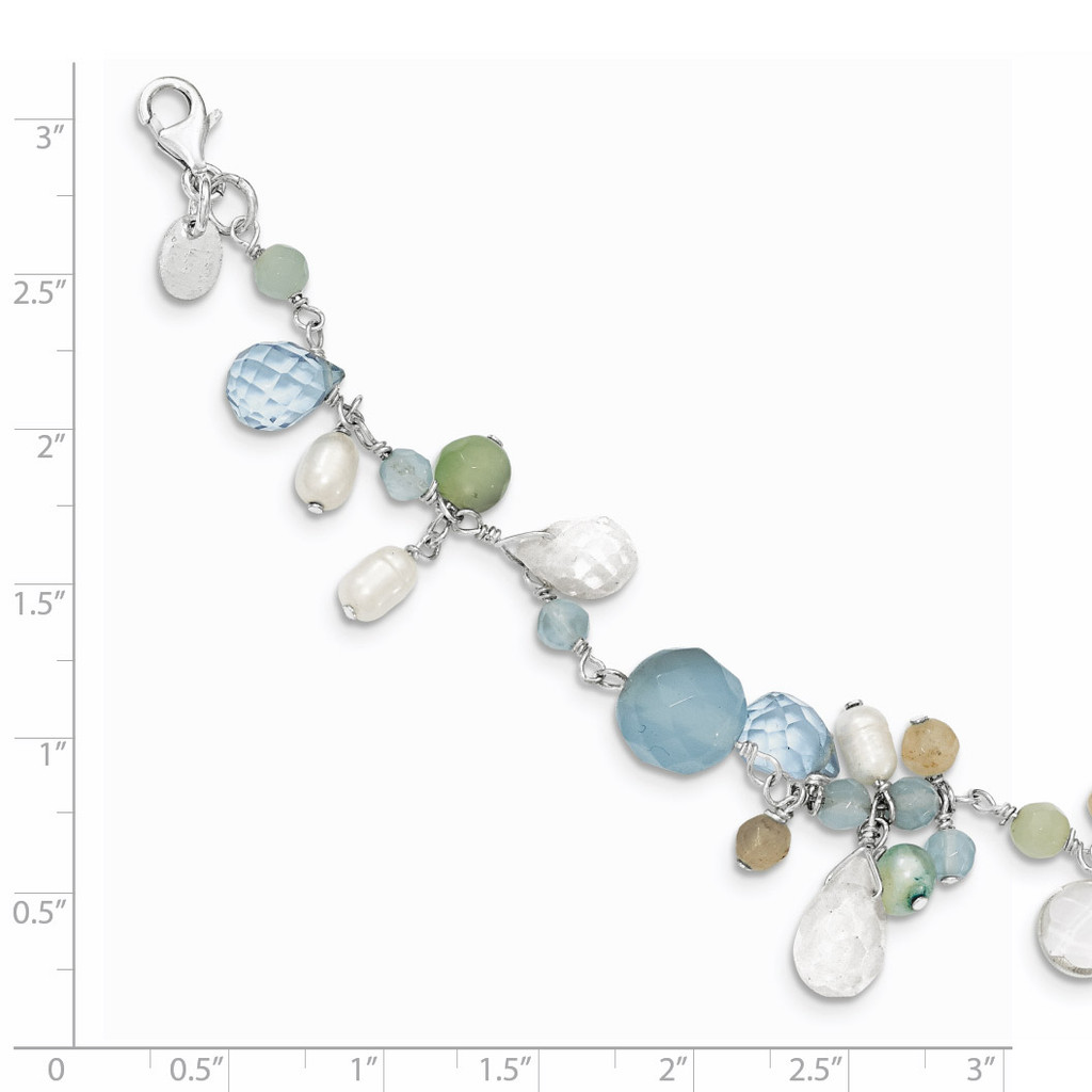 7.5 Inch B. Lace Agate Opalite Amazonite Cultured Pearl Necklace Sterling Silver QH2329-7.5