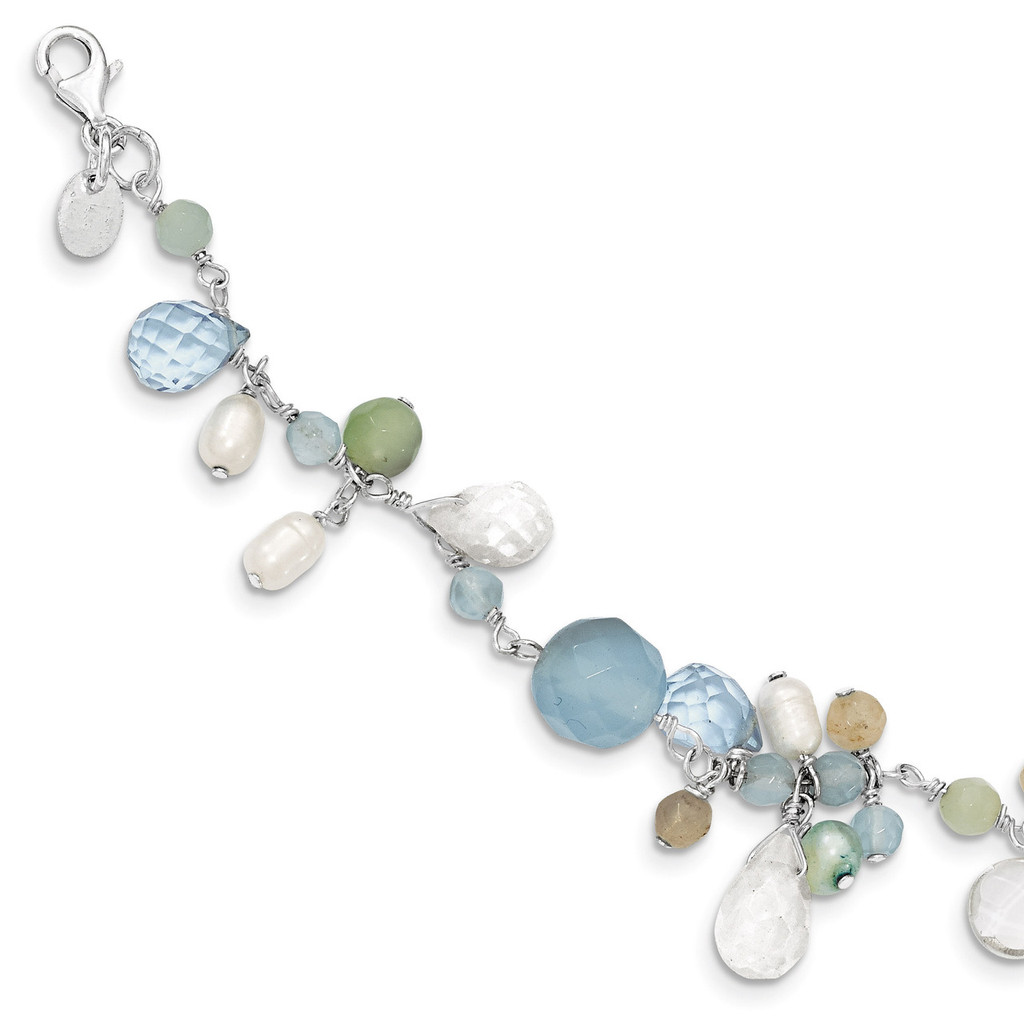 7.5 Inch B. Lace Agate Opalite Amazonite Cultured Pearl Necklace Sterling Silver MPN: QH2329-7.5