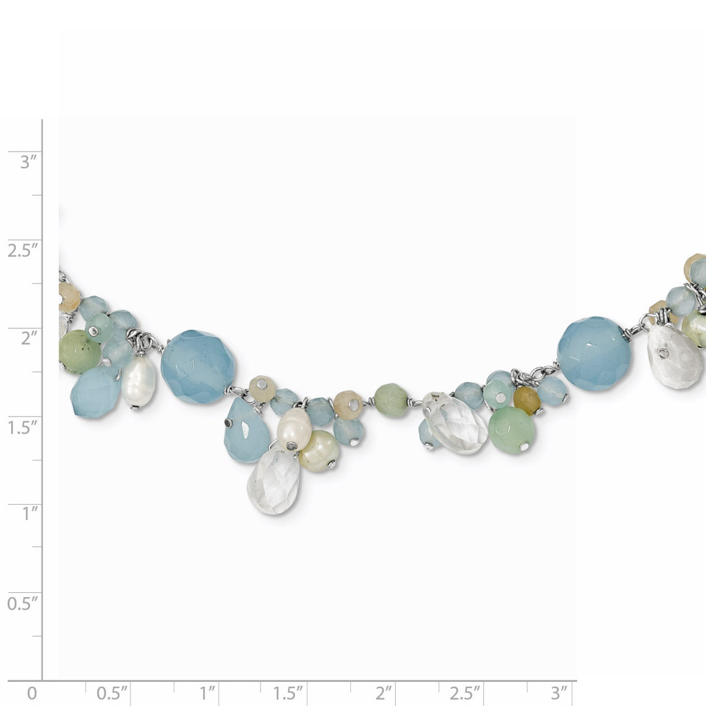 16 Inch Blue Topaz Crystal Opalite Amazonite Cultured Pearl Necklace Sterling Silver QH2330-16