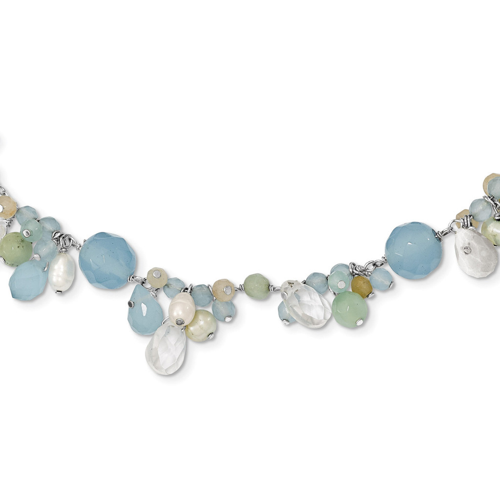 16 Inch Blue Topaz Crystal Opalite Amazonite Cultured Pearl Necklace Sterling Silver MPN: QH2330-16