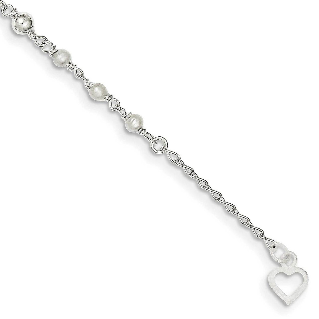 10 Inch Cultured Pearl & Heart Anklet Sterling Silver Polished QH942-10