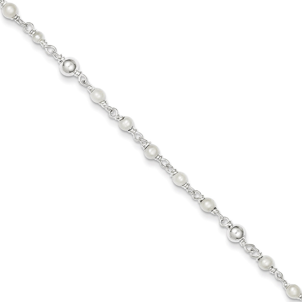 10 Inch Cultured Pearl & Heart Anklet Sterling Silver Polished MPN: QH942-10