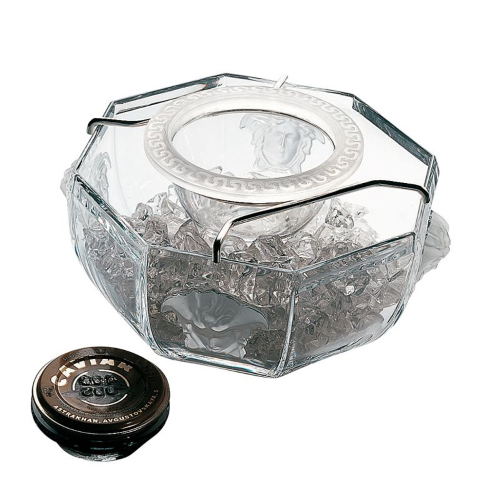Versace Medusa Lumiere Caviar Bowl with insert Crystal 3 pieces