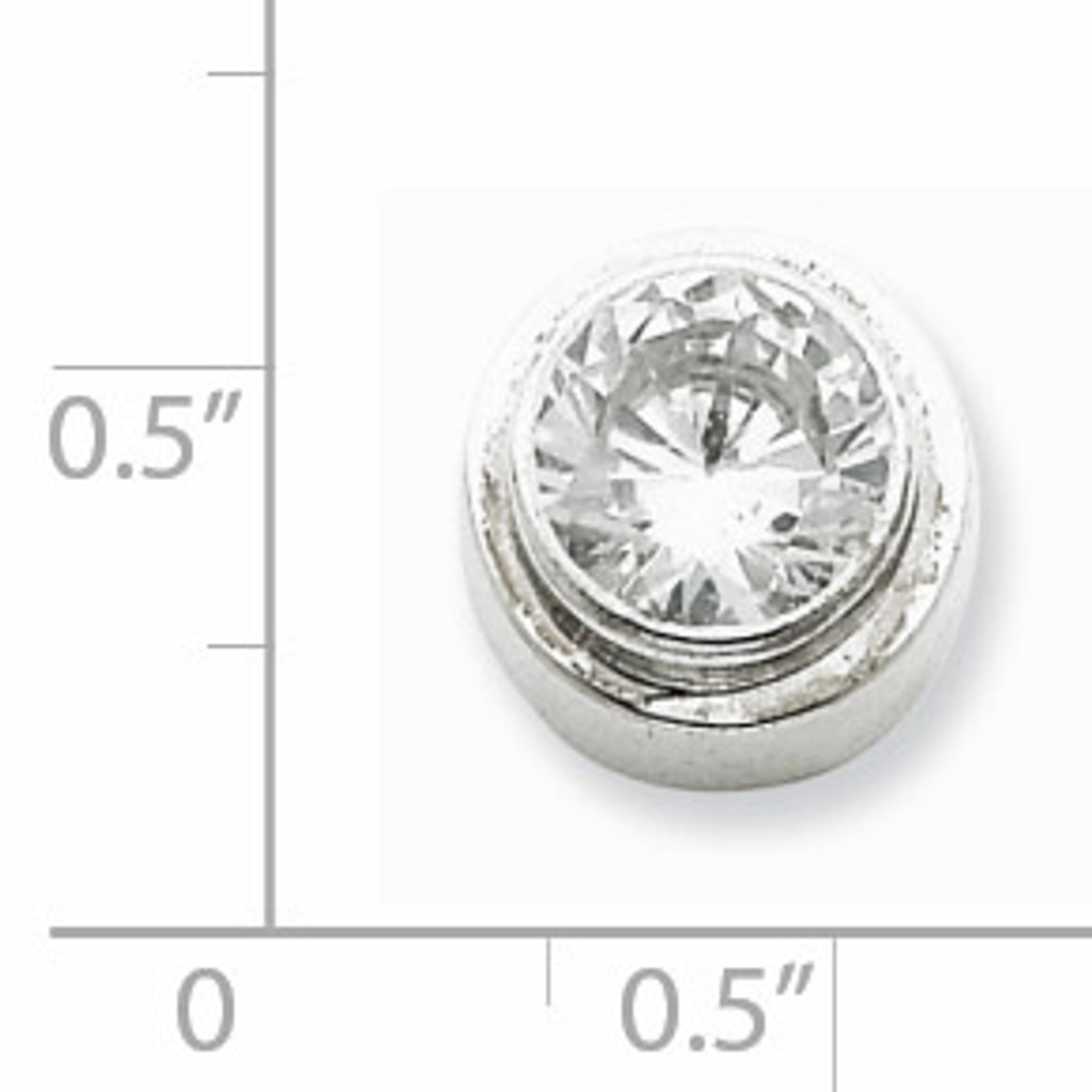 6mm Diamond Round Slide Sterling Silver QP819