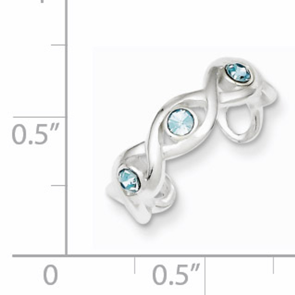 Stellux Crystal Toe Ring Sterling Silver QR1948