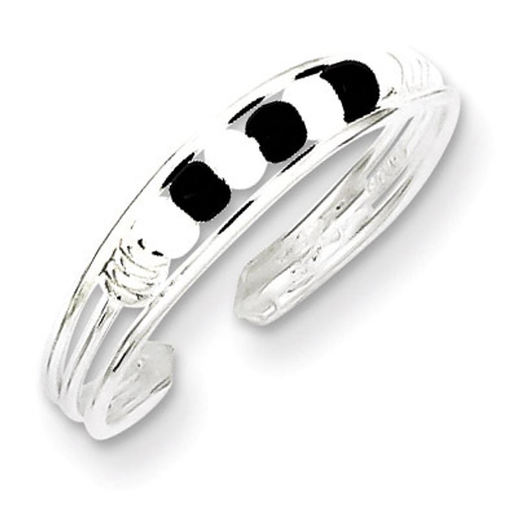 Black & White Beaded Toe Ring Sterling Silver MPN: QR771