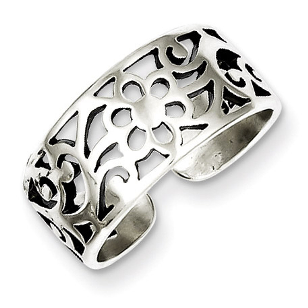 Floral Toe Ring Antiqued Sterling Silver MPN: QR782