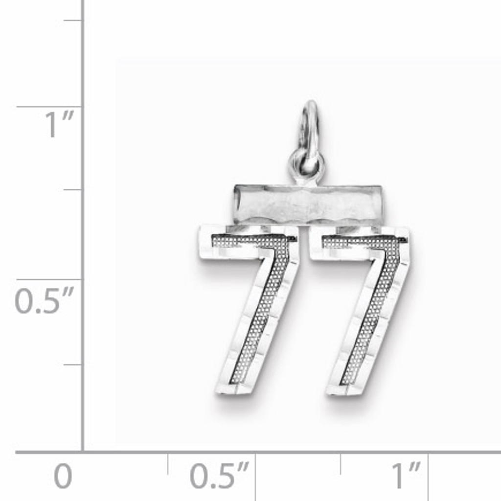Number 77 Charm Sterling Silver QSN77