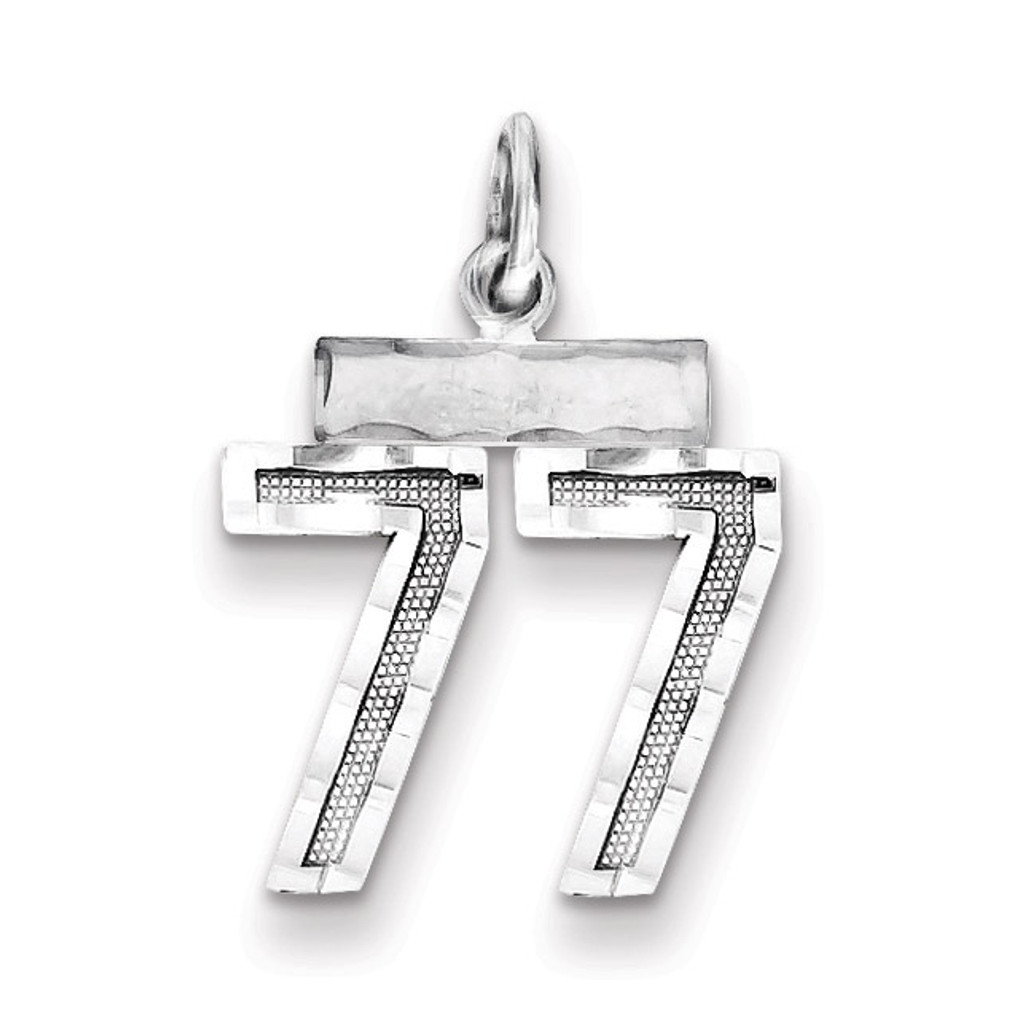 Number 77 Charm Sterling Silver MPN: QSN77