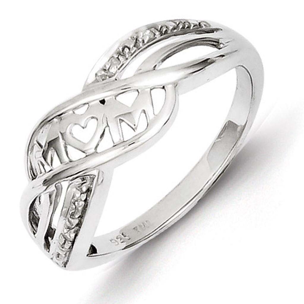 19680591aba2c Heart Mom Ring Sterling Silver Rhodium-plated Diamond QR5685