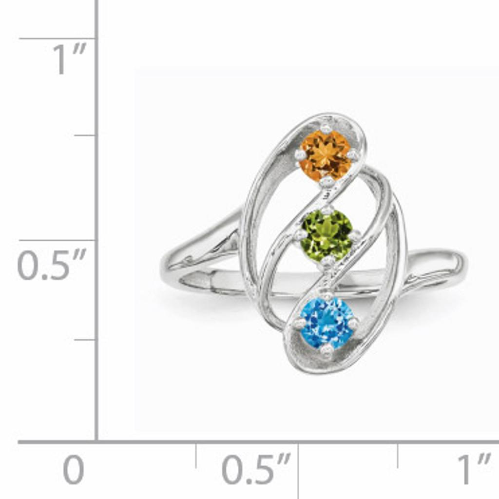 3 Birthstones Mothers Ring 14k White Gold Polished XMR3/3W
