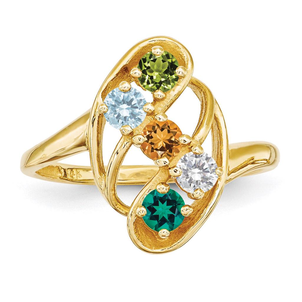 5 Birthstones Mothers Ring 14k Gold Polished XMR3/5