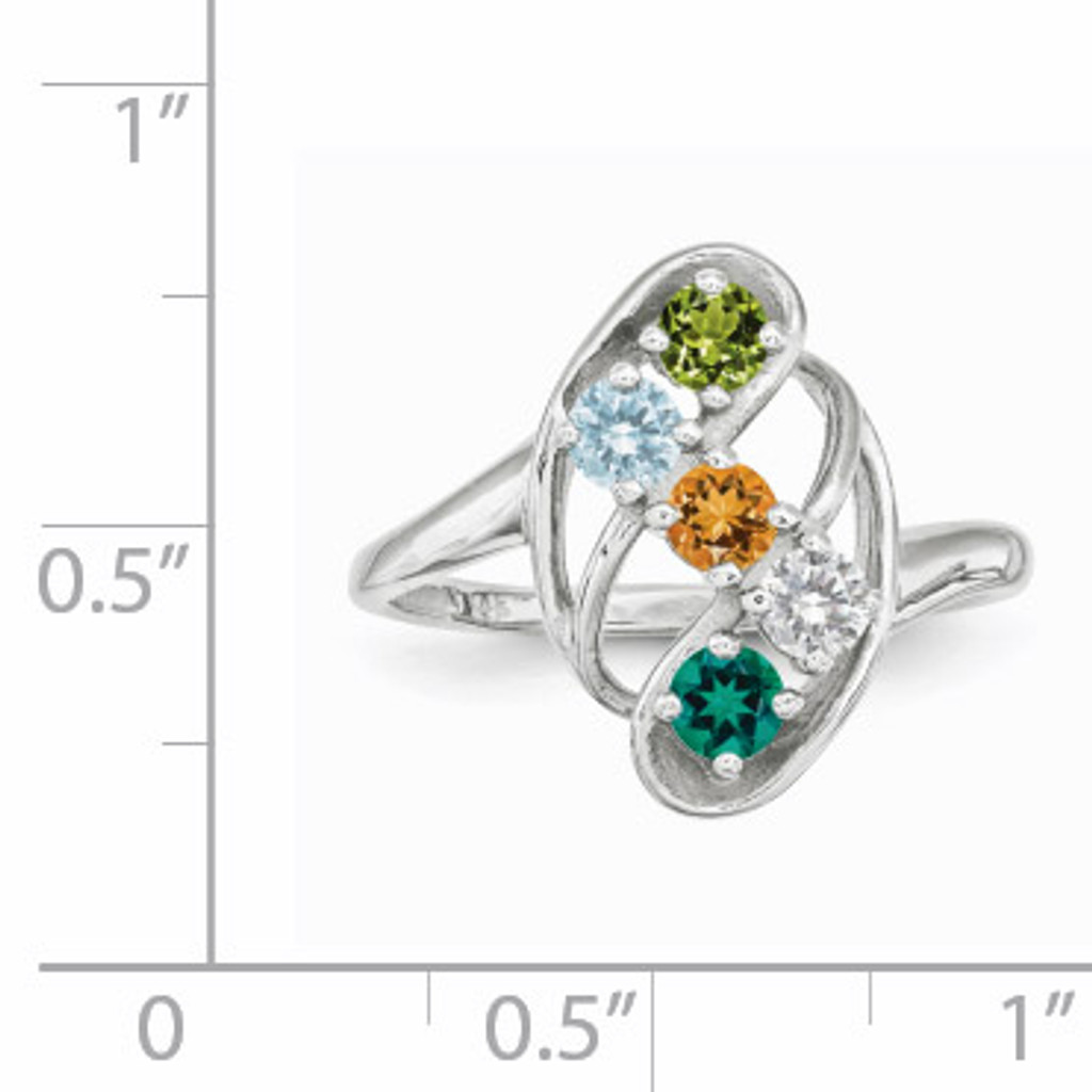 5 Birthstones Mothers Ring 14k White Gold Polished XMR3/5W
