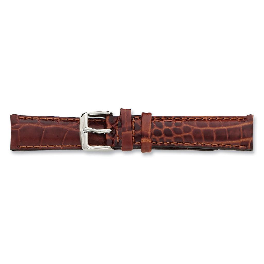 26mm Havana Crocodile Chrono Watch Band 7.5 Inch Silver-tone Buckle BA104-26