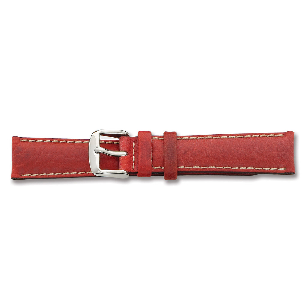 22mm Red Sport Leather White Stitch Watch Band 7.5 Inch Silver-tone Buckle BA138-22