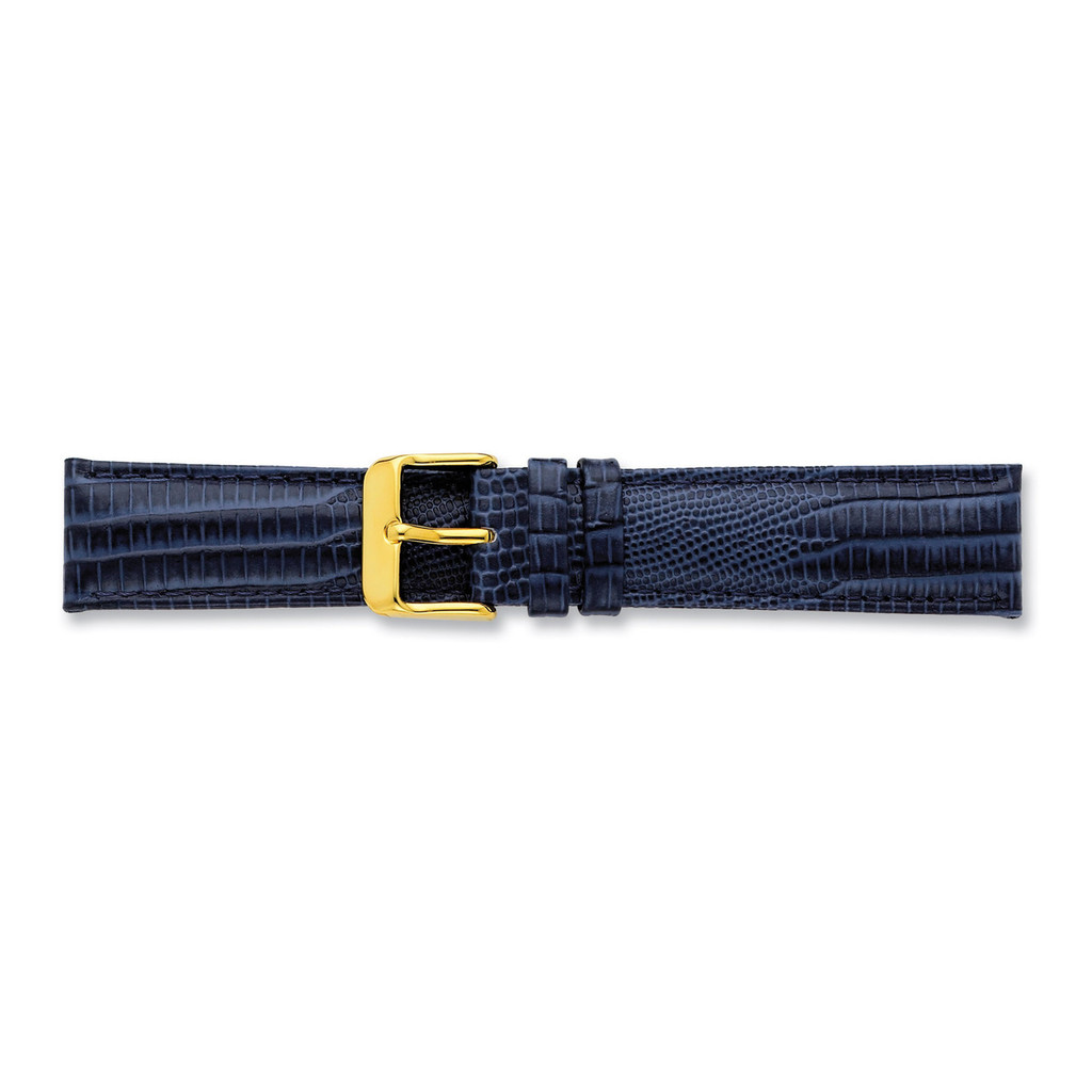 16mm Navy Teju Lizzard Grain Leather Buckle Watch Band 7.5 Inch Gold-tone BA204-16