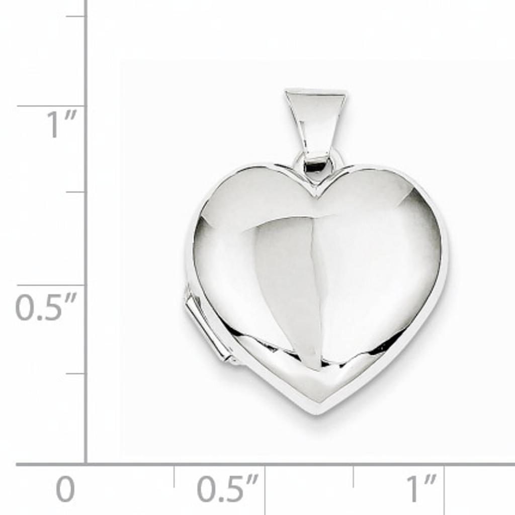 Domed Heart Locket 14k White Gold XL186