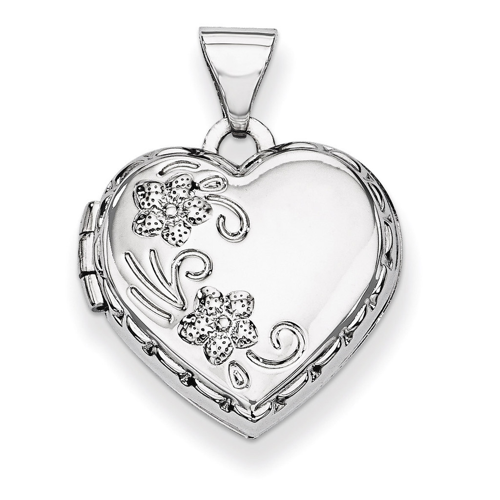 Polished Heart-Shaped Reversible Floral Locket 14k White Gold XL306