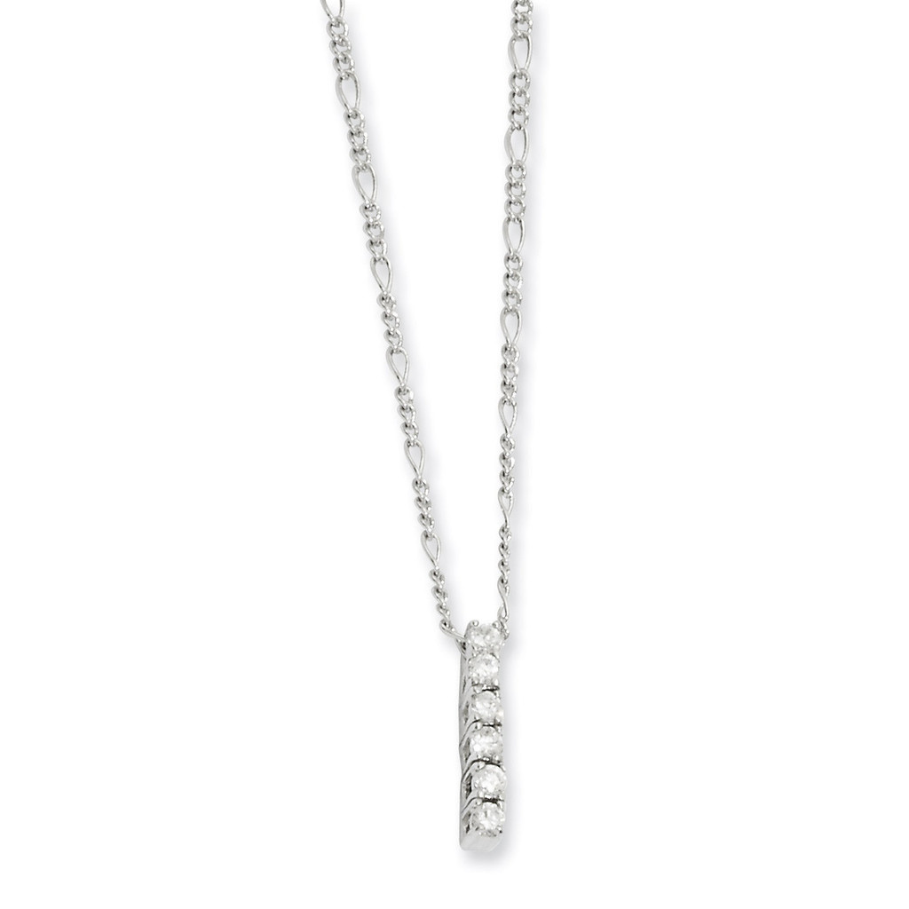 Kelly Waters Diamond Drop Necklace 18 Inch Rhodium-plated KW126-18