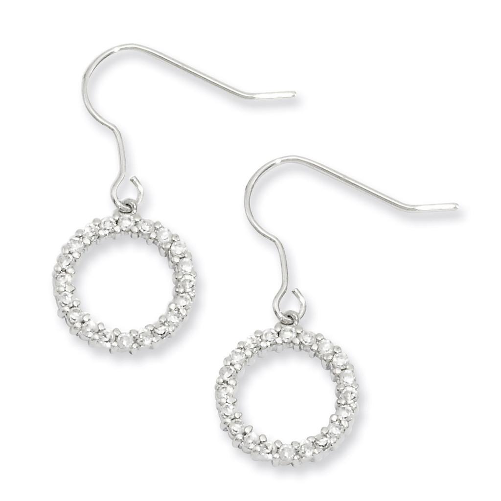 Kelly Waters Diamond Circle Earrings Rhodium-plated KW247