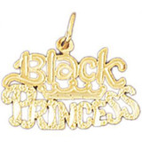 Black Princess Pendant Necklace Charm Bracelet in Gold or Silver 10418