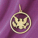 Army Eagle Charm Bracelet or Pendant Necklace in Yellow, White or Rose Gold DZ-6281 by Dazzlers