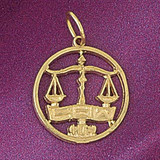 Scale Justice Charm Bracelet or Pendant Necklace in Yellow, White or Rose Gold DZ-6287 by Dazzlers