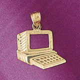 Office Computer Desktop Charm Bracelet or Pendant Necklace in Yellow, White or Rose Gold DZ-6441 by Dazzlers