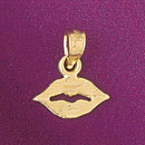 Lip Charm Bracelet or Pendant Necklace in Yellow, White or Rose Gold DZ-6524 by Dazzlers