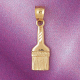 Paint Brush Pendant Necklace Charm Bracelet in Gold or Silver 6654
