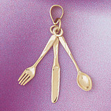 Fork Knife Spoon Pendant Necklace Charm Bracelet in Gold or Silver 6918
