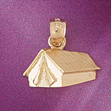 Camping Tent Pendant Necklace Charm Bracelet in Gold or Silver 6975