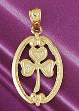 Three Leaf Clover Charm Bracelet or Pendant Necklace in Yellow, White or Rose Gold DZ-7067 by Dazzlers