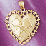 Heart With Three Leaf Clover Charm Bracelet or Pendant Necklace in Yellow, White or Rose Gold DZ-7068 by Dazzlers