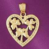 Heart With Three Leaf Clover Charm Bracelet or Pendant Necklace in Yellow, White or Rose Gold DZ-7070 by Dazzlers