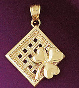 Three Leaf Clover Charm Bracelet or Pendant Necklace in Yellow, White or Rose Gold DZ-7071 by Dazzlers