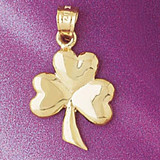Three Leaf Clover Charm Bracelet or Pendant Necklace in Yellow, White or Rose Gold DZ-7074 by Dazzlers