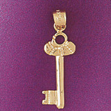 Key Charm Bracelet or Pendant Necklace in Yellow, White or Rose Gold DZ-7109 by Dazzlers