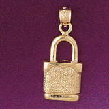 Lock Pendant Necklace Charm Bracelet in Gold or Silver 7127