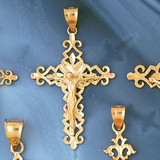 Jesus Christ on Cross Charm Bracelet or Pendant Necklace in Yellow, White or Rose Gold DZ-8385 by Dazzlers