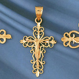 Jesus Christ on Cross Charm Bracelet or Pendant Necklace in Yellow, White or Rose Gold DZ-8387 by Dazzlers