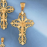 Jesus Christ on Cross Charm Bracelet or Pendant Necklace in Yellow, White or Rose Gold DZ-8389 by Dazzlers