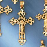 Jesus Christ on Cross Charm Bracelet or Pendant Necklace in Yellow, White or Rose Gold DZ-8392 by Dazzlers