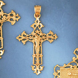 Jesus Christ on Cross Charm Bracelet or Pendant Necklace in Yellow, White or Rose Gold DZ-8394 by Dazzlers